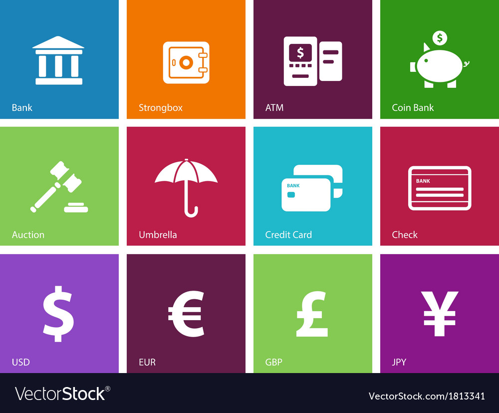 Banking icons on color background vector | Price: 1 Credit (USD $1)