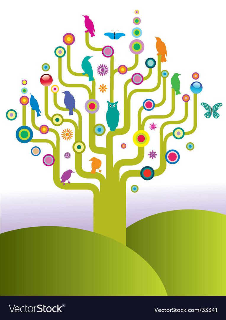 Bird tree vector | Price: 1 Credit (USD $1)