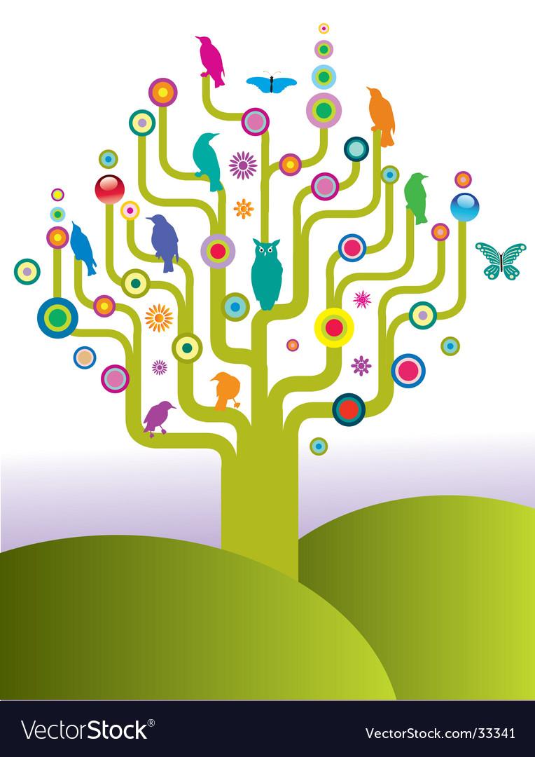 Bird tree vector | Price: 1 Credit (USD $1)