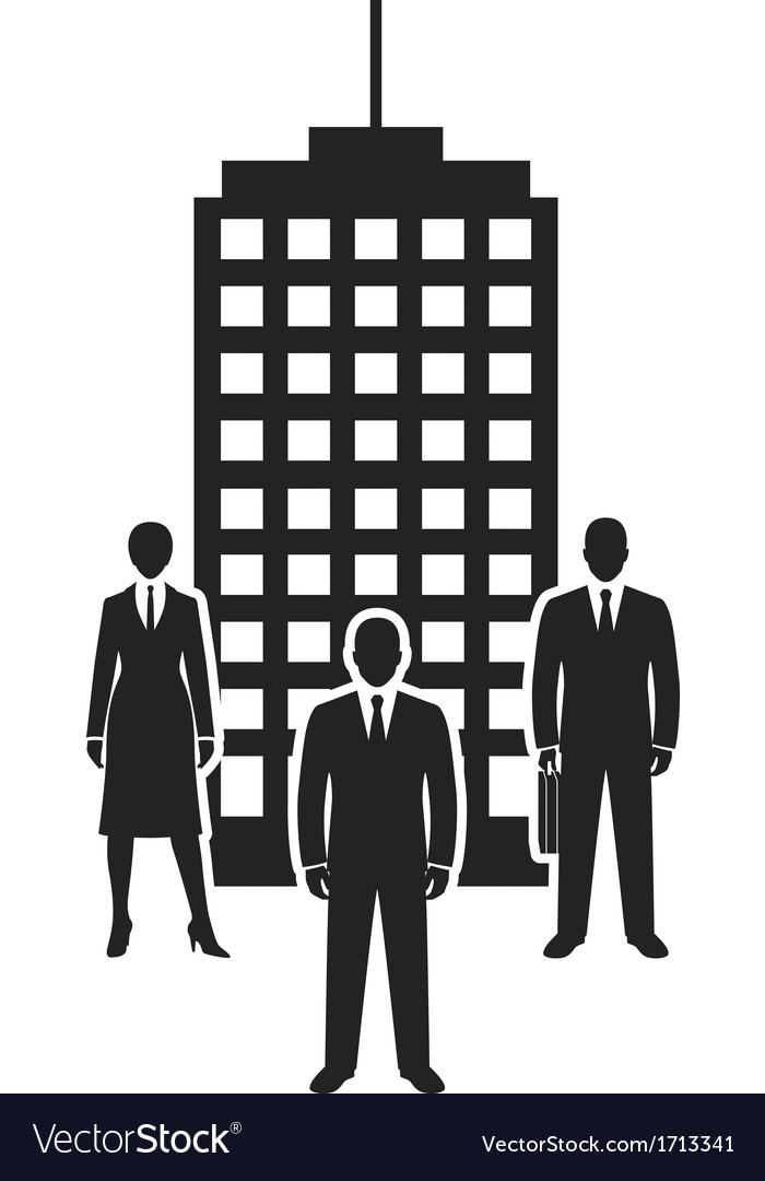 Business team standing near building black icon vector | Price: 1 Credit (USD $1)