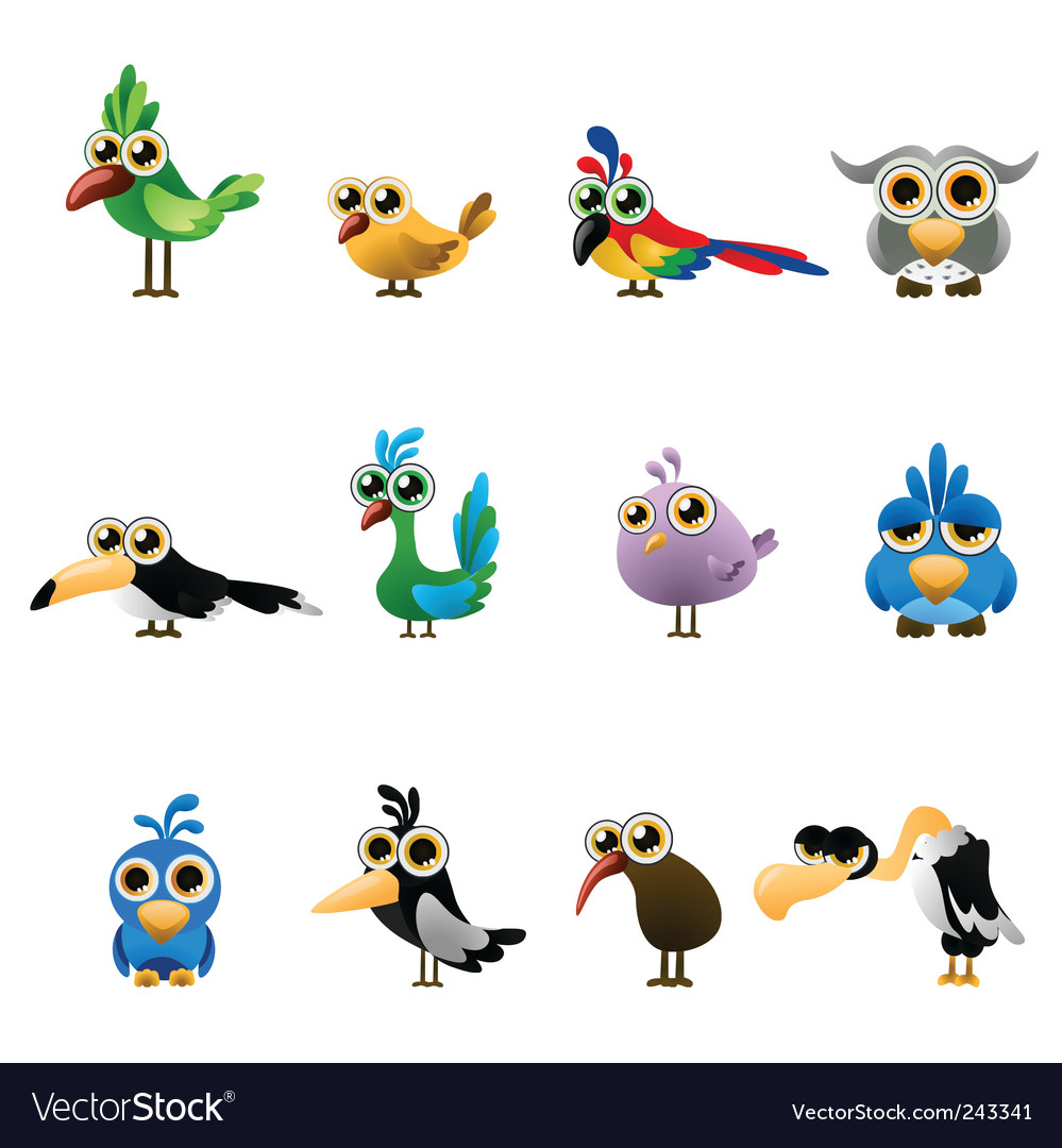 Cartoon bird set vector | Price: 1 Credit (USD $1)