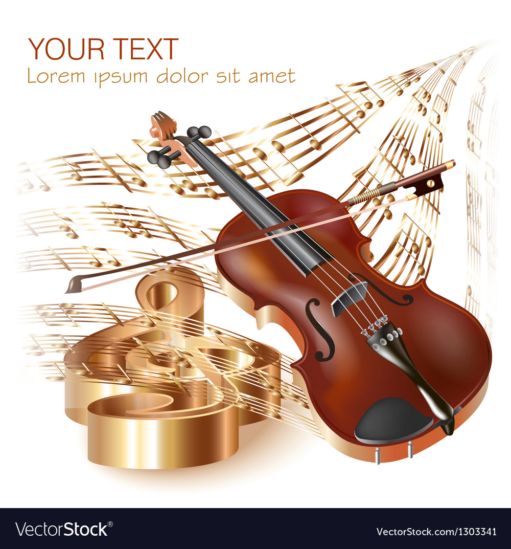 Classical violin on musical notes background vector | Price: 1 Credit (USD $1)