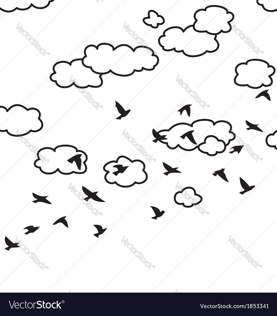Flying birds and clouds in the sky vector | Price: 1 Credit (USD $1)