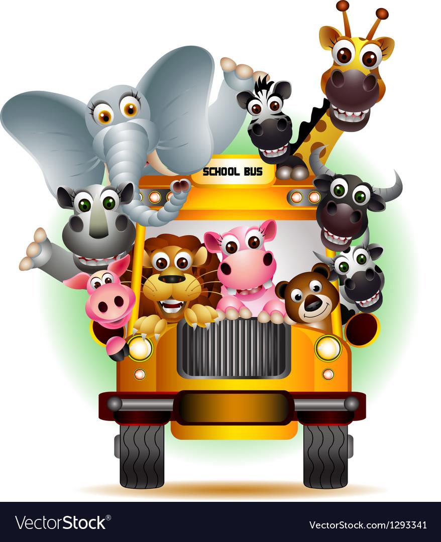 Funny animal cartoon on yellow car vector   Price: 3 Credit (USD $3)
