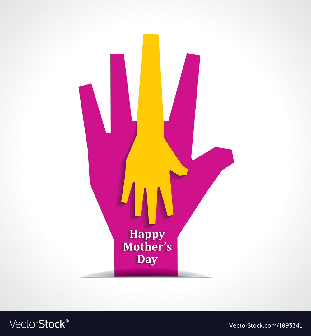 Happy mothers day with two hands of mother  child vector | Price: 1 Credit (USD $1)