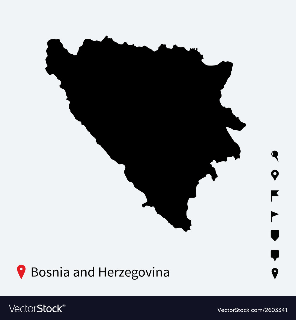 High detailed map of bosnia and herzegovina with vector | Price: 1 Credit (USD $1)