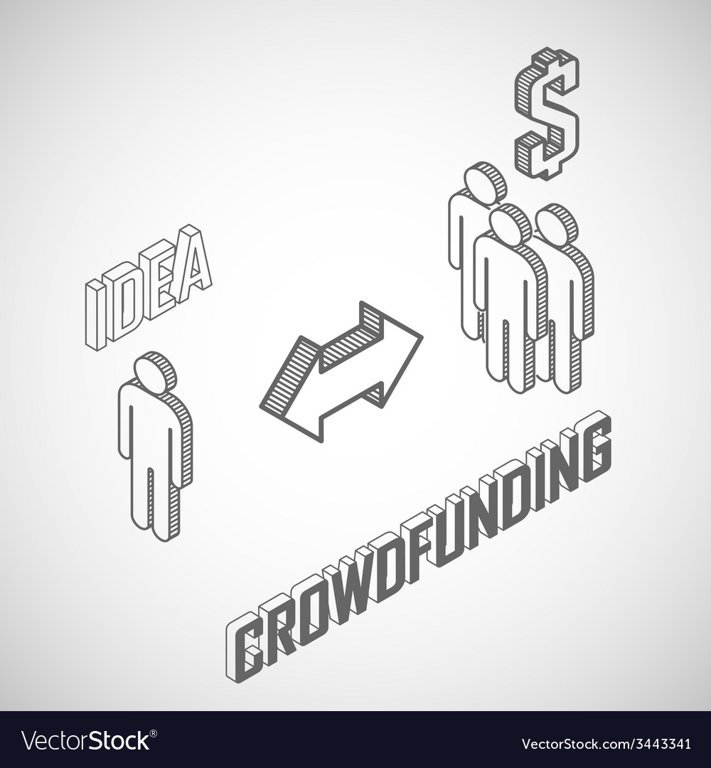 Infographic crowdfunding concept with isometric vector | Price: 1 Credit (USD $1)