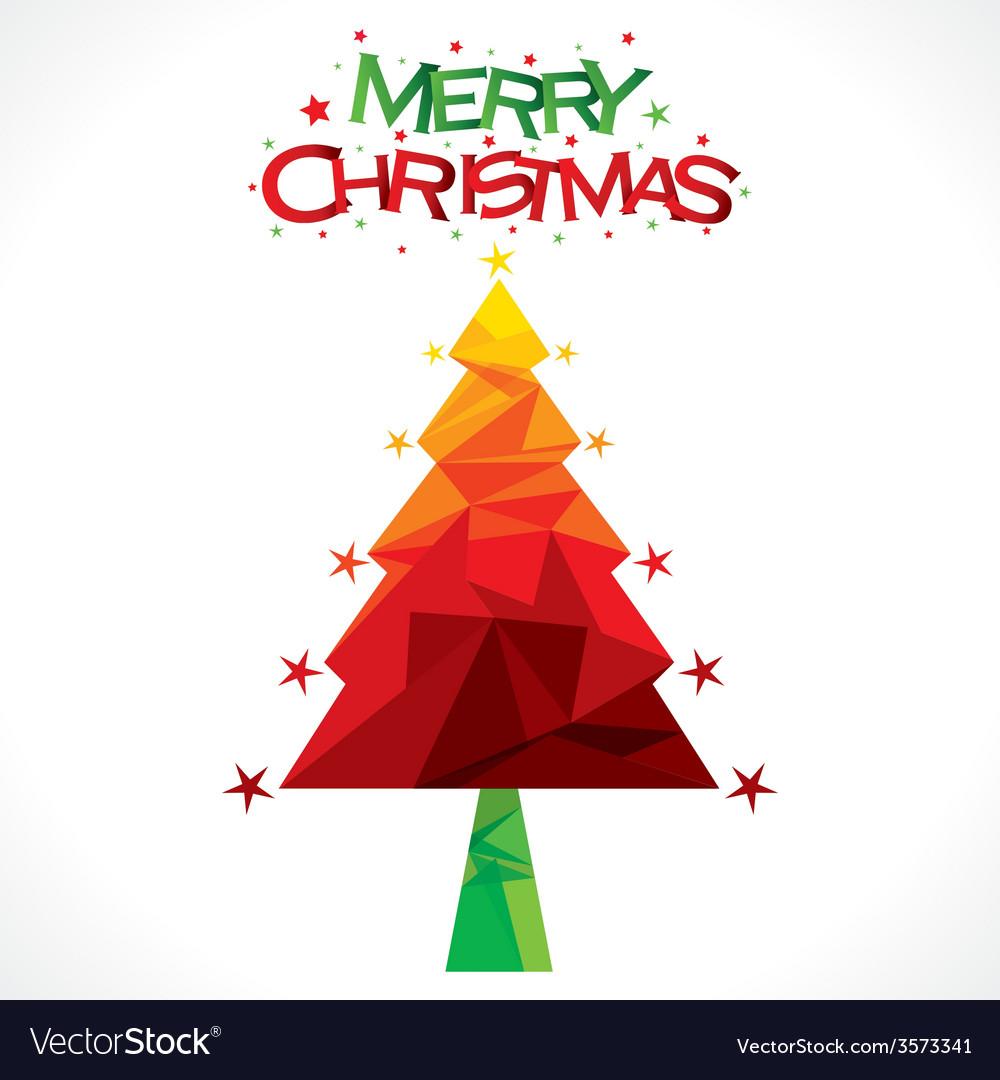 Merry christmas tree greeting design vector | Price: 1 Credit (USD $1)