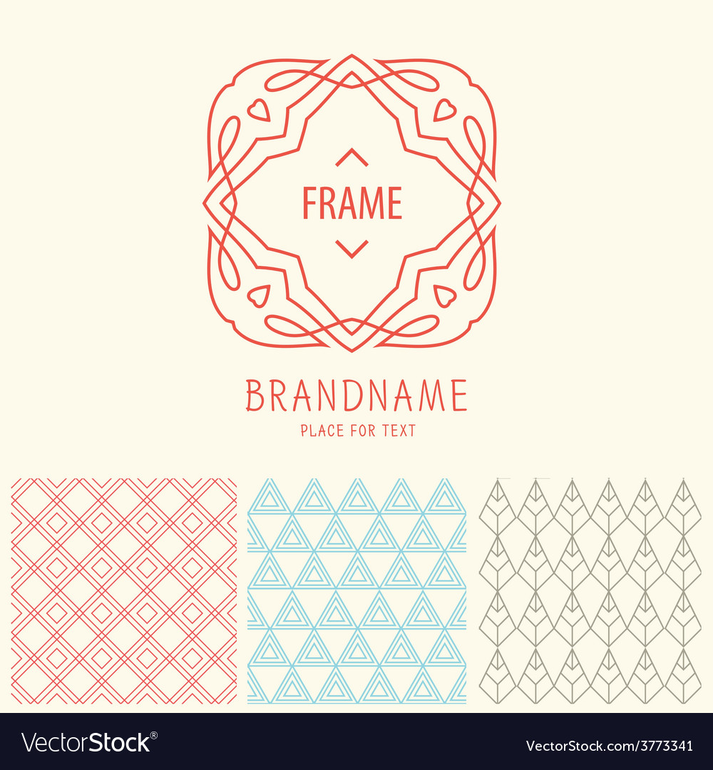 Set of outline emblems and patterns vector | Price: 1 Credit (USD $1)