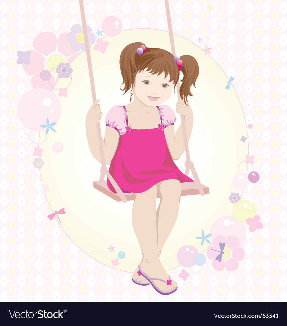Swinging girl vector   Price: 5 Credit (USD $5)