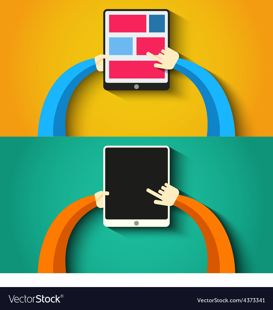 Tablet pc in hands flat style vector   Price: 1 Credit (USD $1)