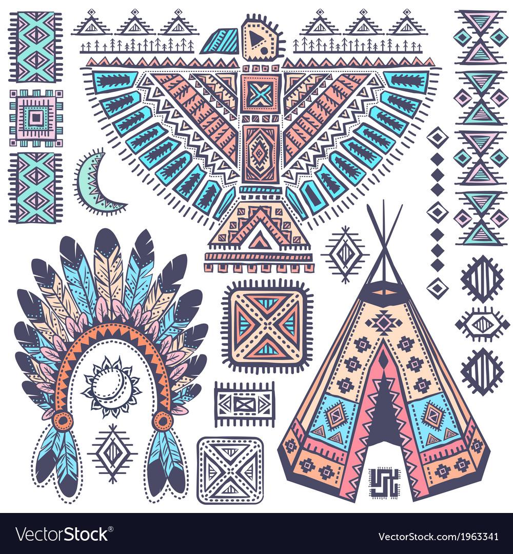 Vintage set of native american symbols vector | Price: 1 Credit (USD $1)