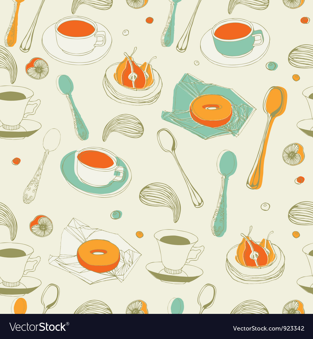 Afternoon tea seamless pattern vector | Price: 1 Credit (USD $1)