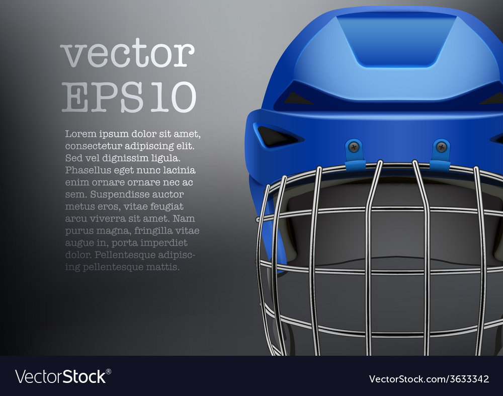 Background of classic blue ice hockey helmet with vector | Price: 1 Credit (USD $1)
