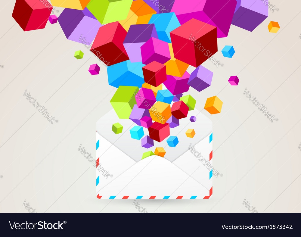 Colorful cubes flying from mail vector | Price: 1 Credit (USD $1)