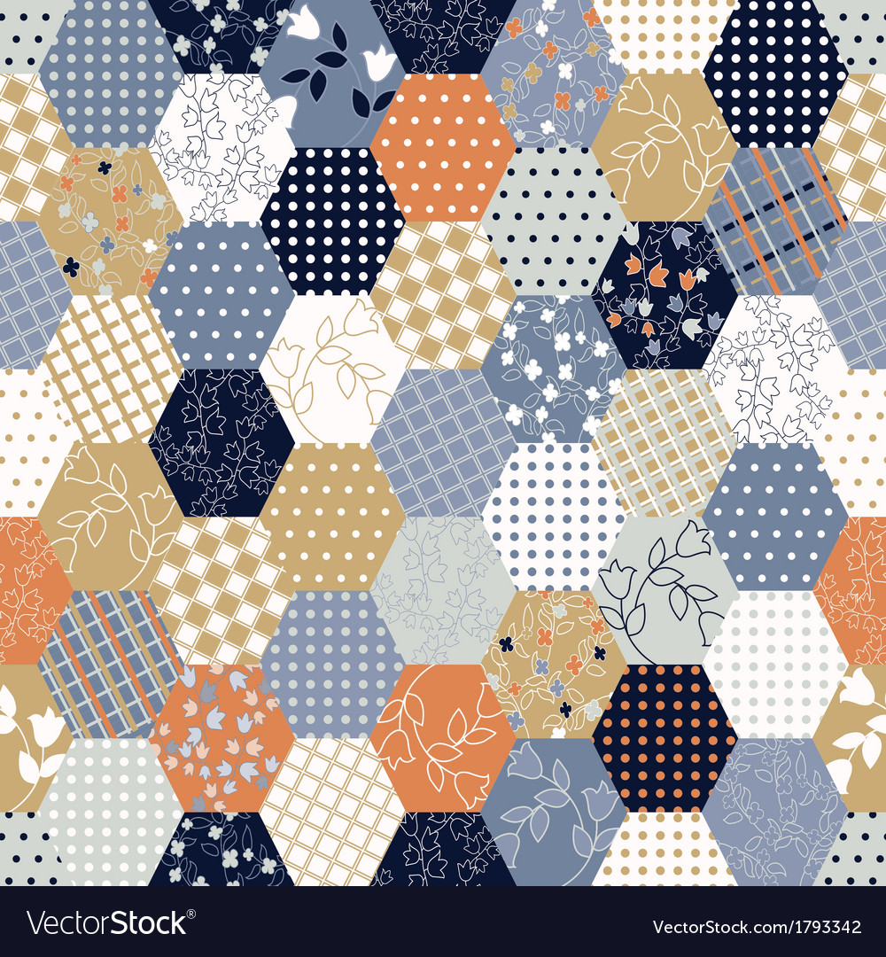 Colorful patchwork seamless patterns vector | Price: 1 Credit (USD $1)