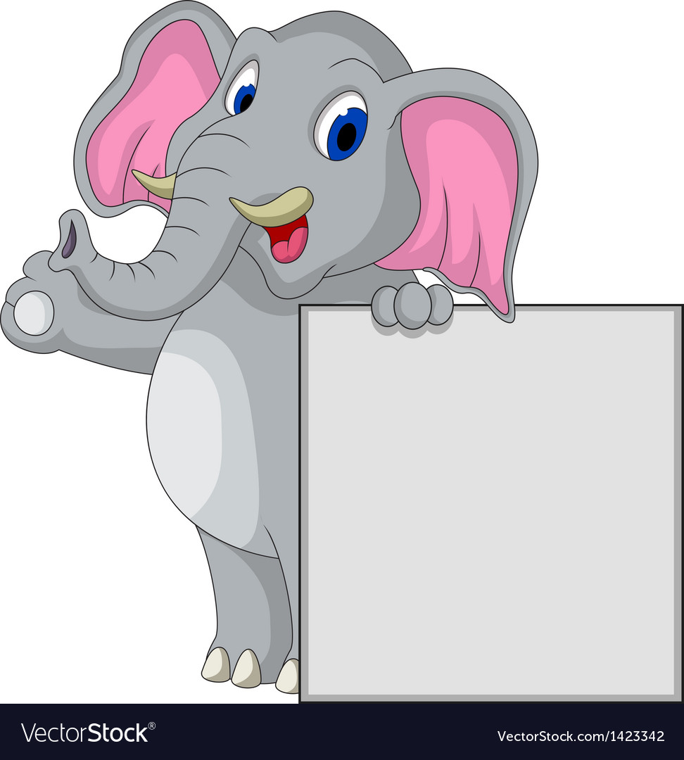 Elephant cartoon with blank sign vector | Price: 1 Credit (USD $1)