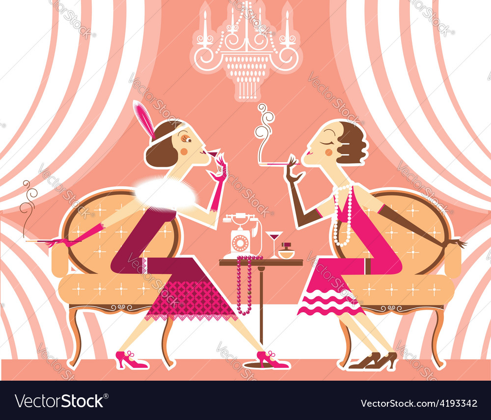 Flapper girls talking and smoking cigarettes vector | Price: 3 Credit (USD $3)