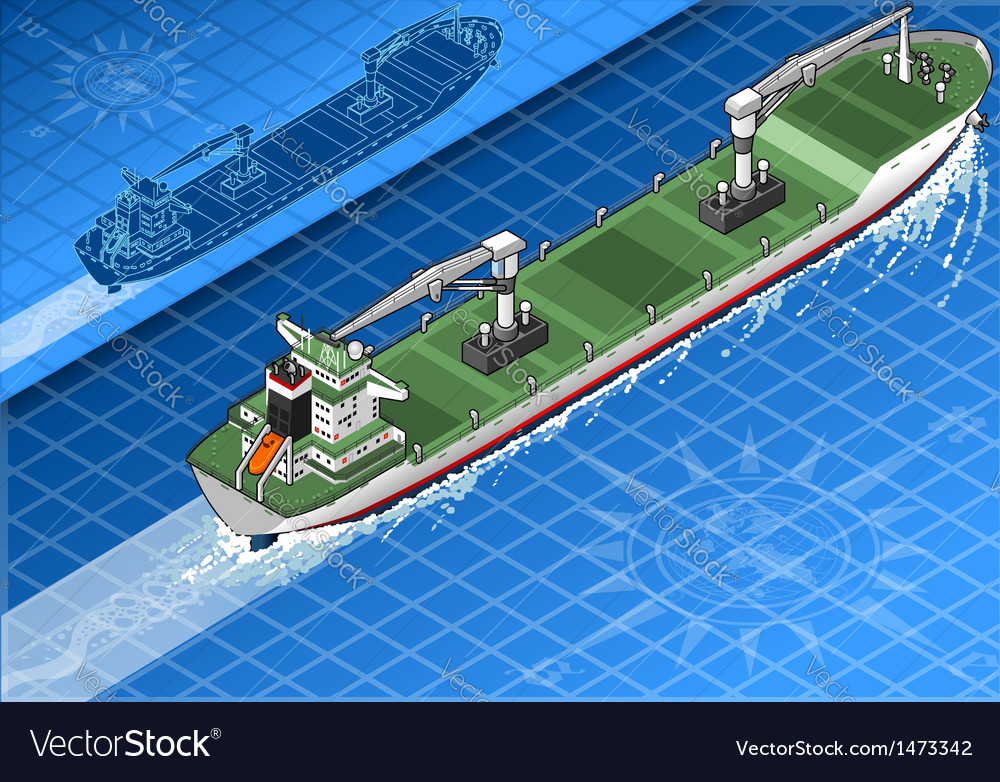 Isometric cargo ship vector | Price: 1 Credit (USD $1)