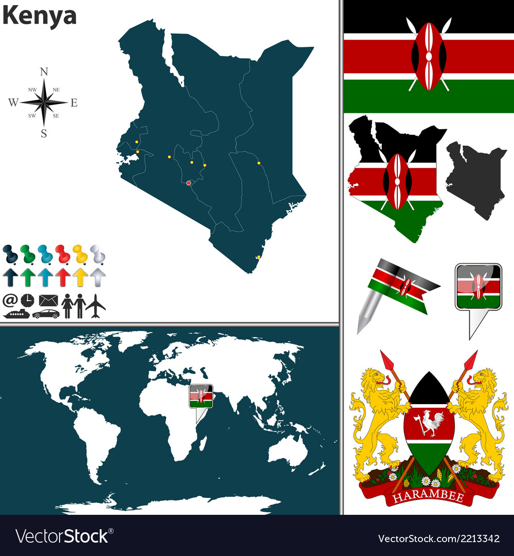Kenya map vector | Price: 1 Credit (USD $1)