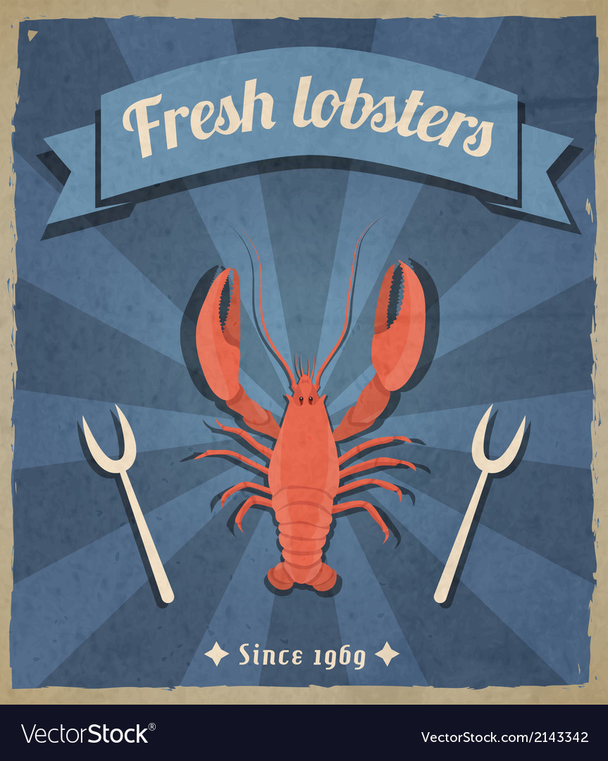 Lobster retro poster vector | Price: 1 Credit (USD $1)