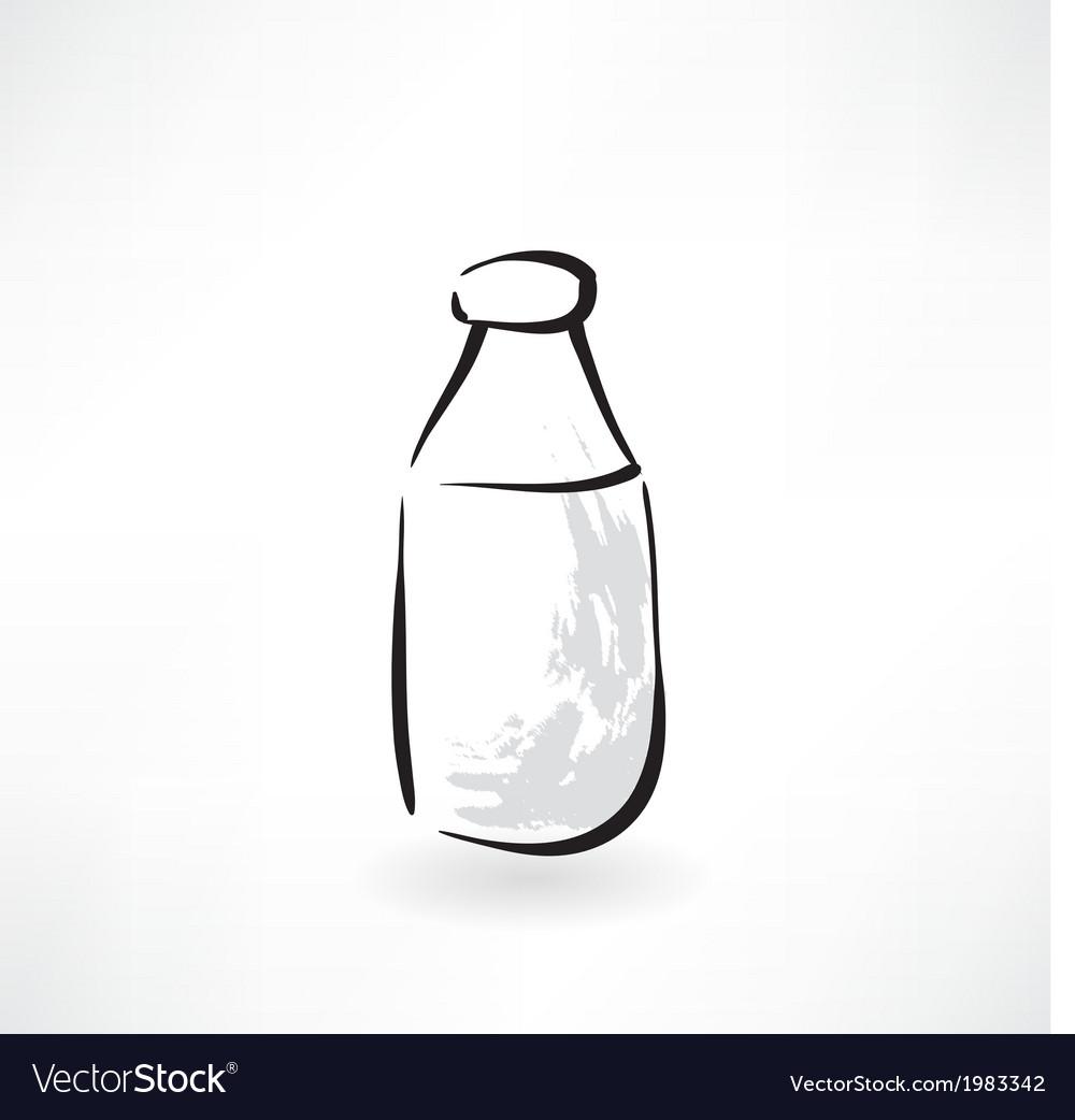 Milk bottle grunge icon vector | Price: 1 Credit (USD $1)