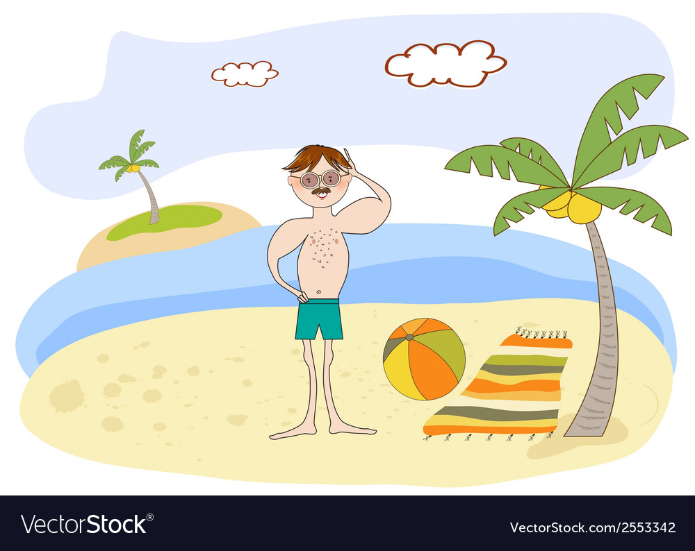 Muscle man on the beach vector | Price: 1 Credit (USD $1)