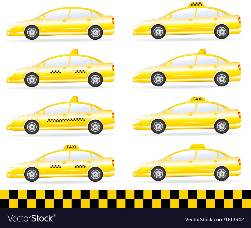 Set of modern isolated taxi vector | Price: 1 Credit (USD $1)