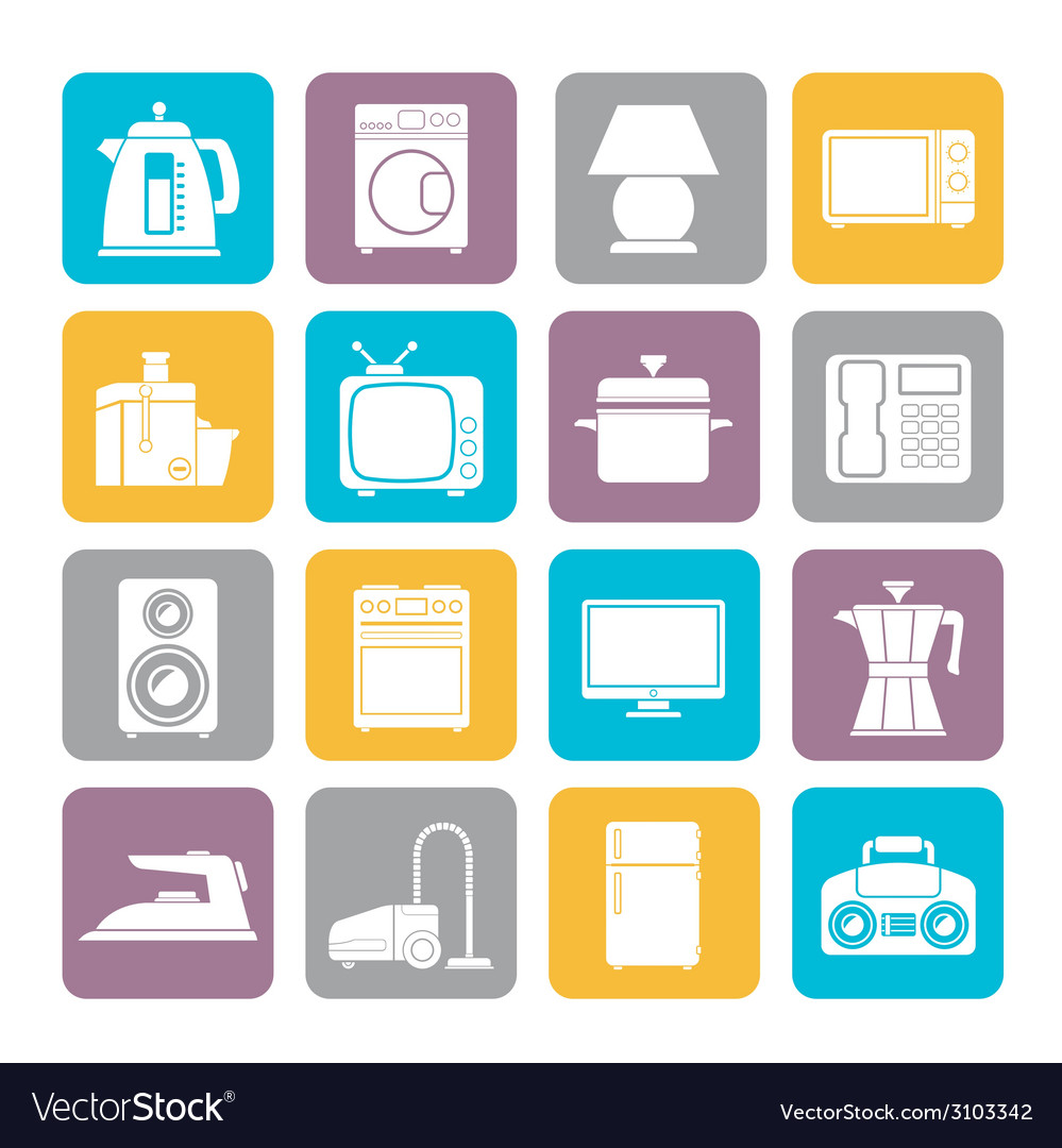 Silhouette home equipment icons vector | Price: 1 Credit (USD $1)