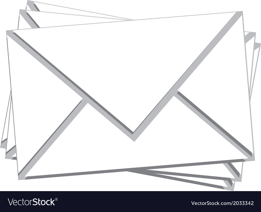 Stack white mail isolated vector | Price: 1 Credit (USD $1)