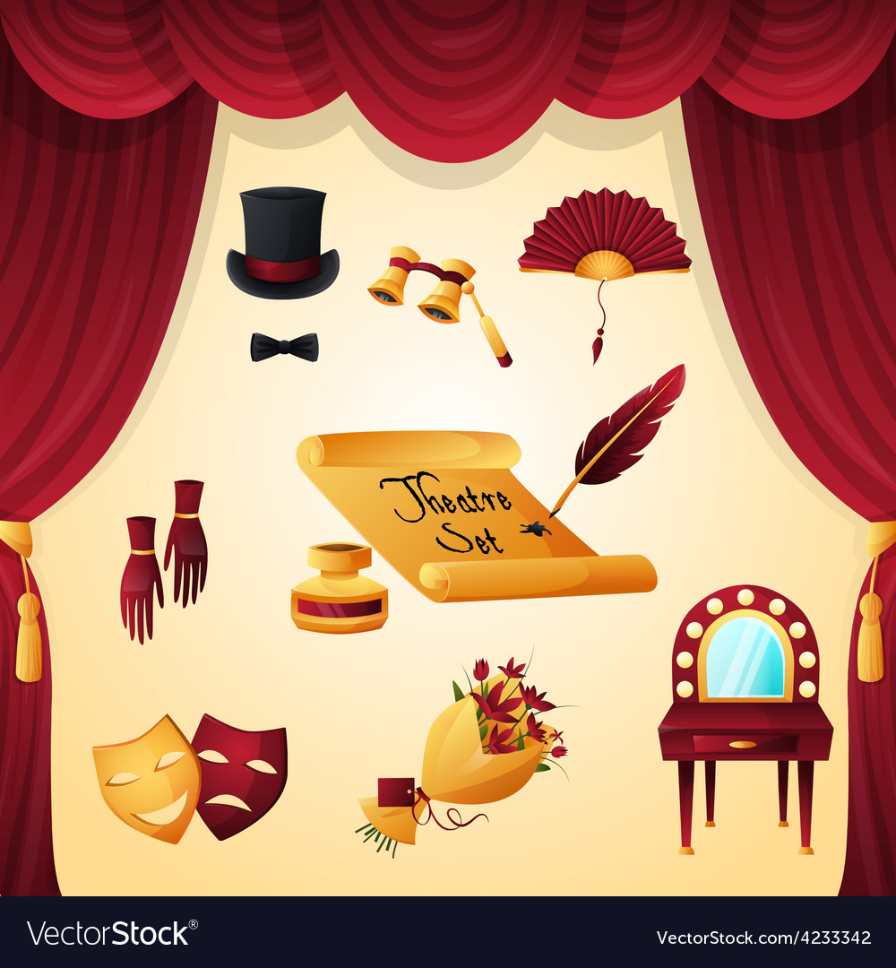 Theater elements set vector | Price: 3 Credit (USD $3)