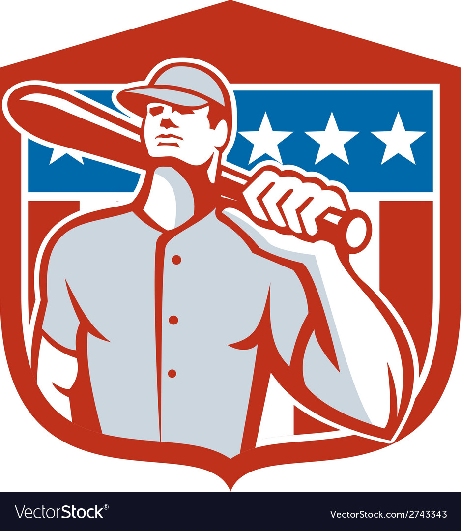 American baseball batter bat shield retro vector | Price: 1 Credit (USD $1)