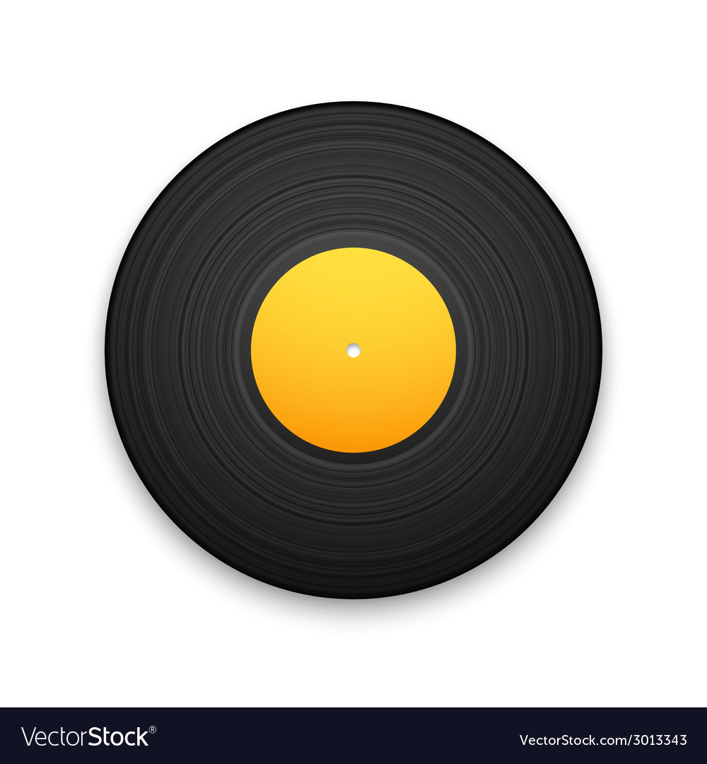 Black vintage vinyl record isolated on white vector | Price: 1 Credit (USD $1)