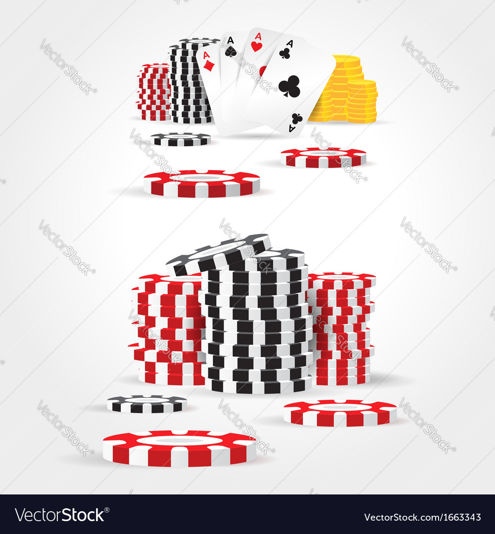 Casino chips money cards game set vector | Price: 1 Credit (USD $1)