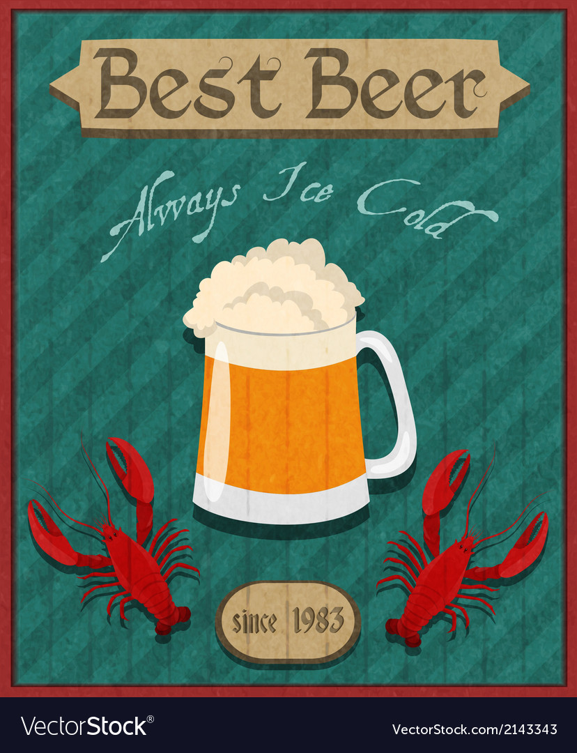 Crawfish and beer retro poster vector | Price: 1 Credit (USD $1)