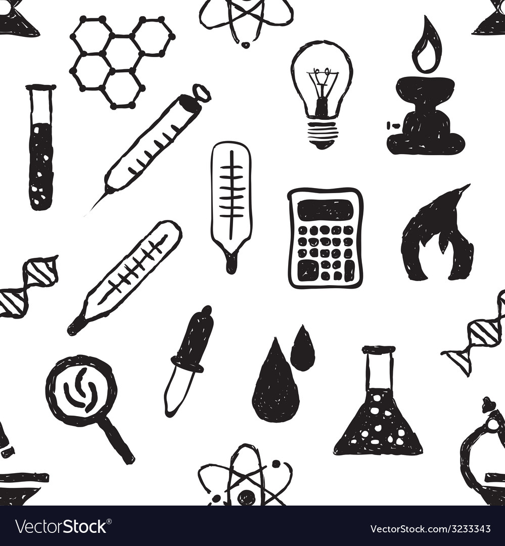 Doodle seamless laboratory pattern vector | Price: 1 Credit (USD $1)