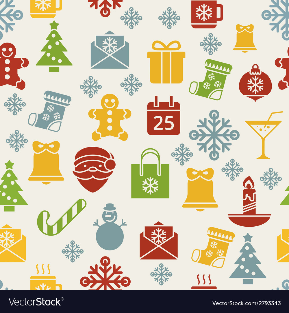 Flat christmas icons seamless pattern background vector | Price: 1 Credit (USD $1)