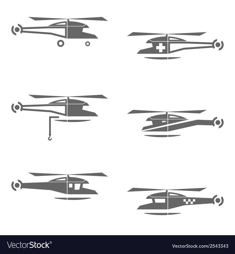 Helicopters icons set vector | Price: 1 Credit (USD $1)
