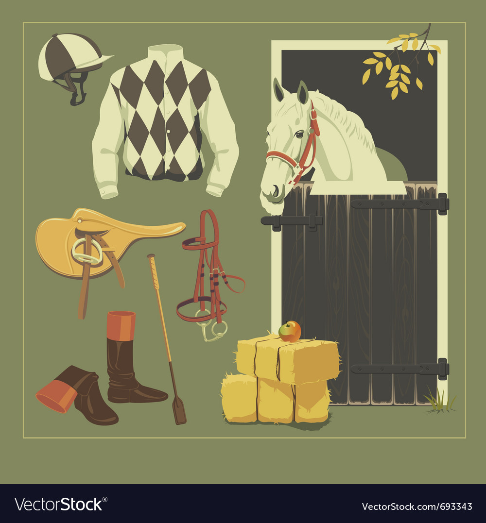Jockey set vector | Price: 1 Credit (USD $1)