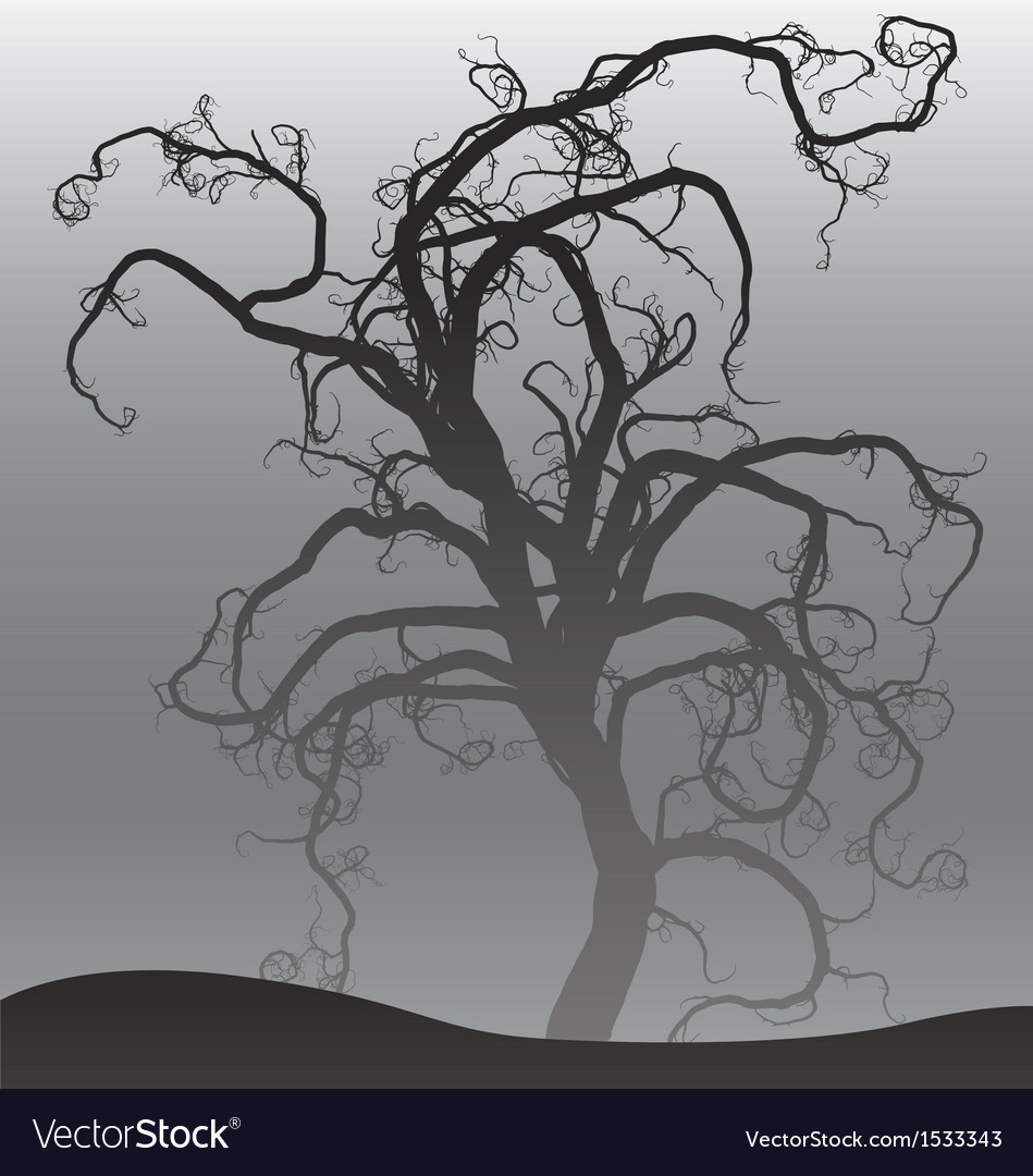 Scary tree in fog vector | Price: 1 Credit (USD $1)