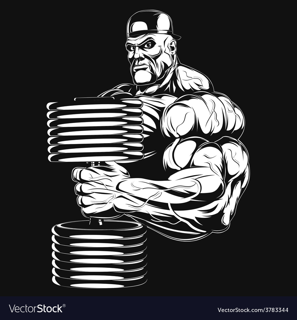 Bodybuilder with dumbbell vector | Price: 3 Credit (USD $3)