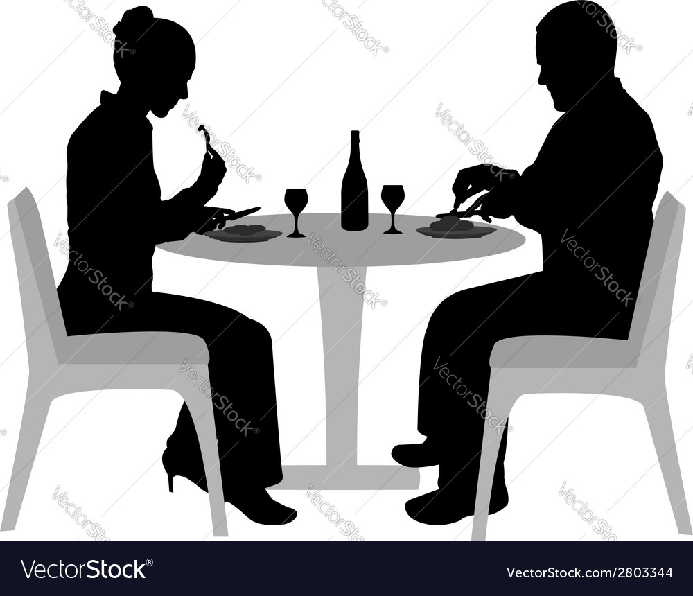 Couple sitting and dining vector | Price: 1 Credit (USD $1)