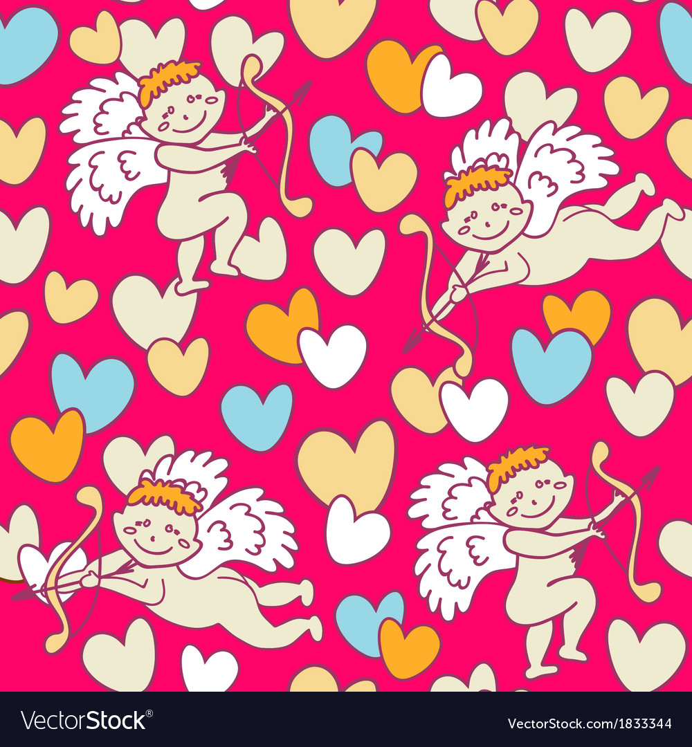 Cupids seamless pattern for valentines day vector | Price: 1 Credit (USD $1)