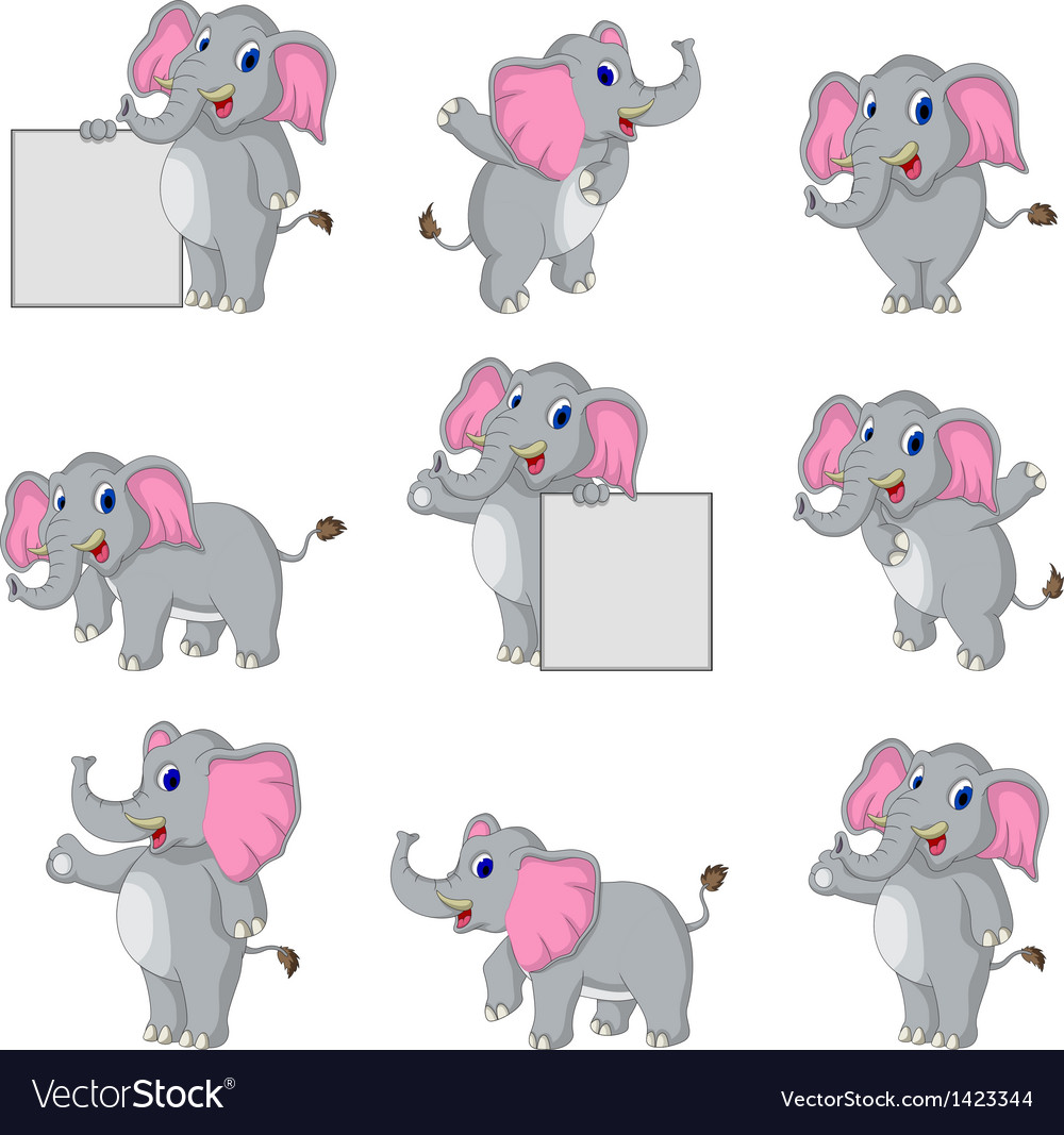 Cute elephant cartoon collection vector | Price: 1 Credit (USD $1)