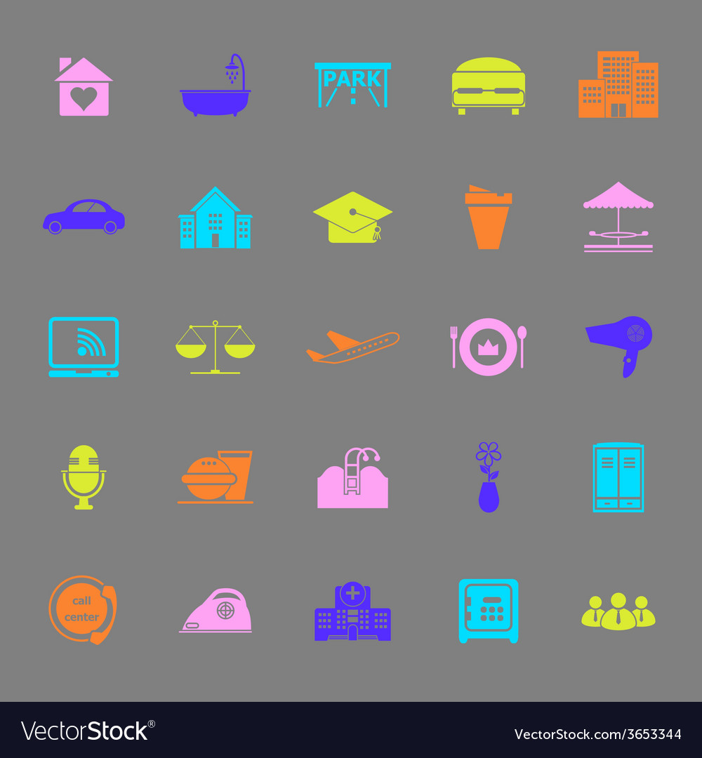 Hospitality business color icons on gray vector | Price: 1 Credit (USD $1)