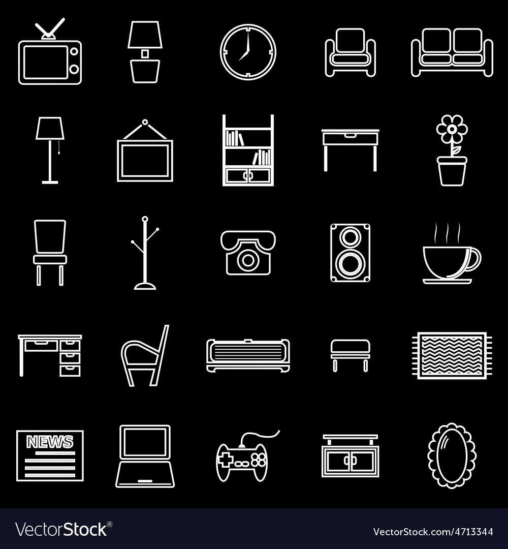 Living room line icons on black background vector | Price: 1 Credit (USD $1)