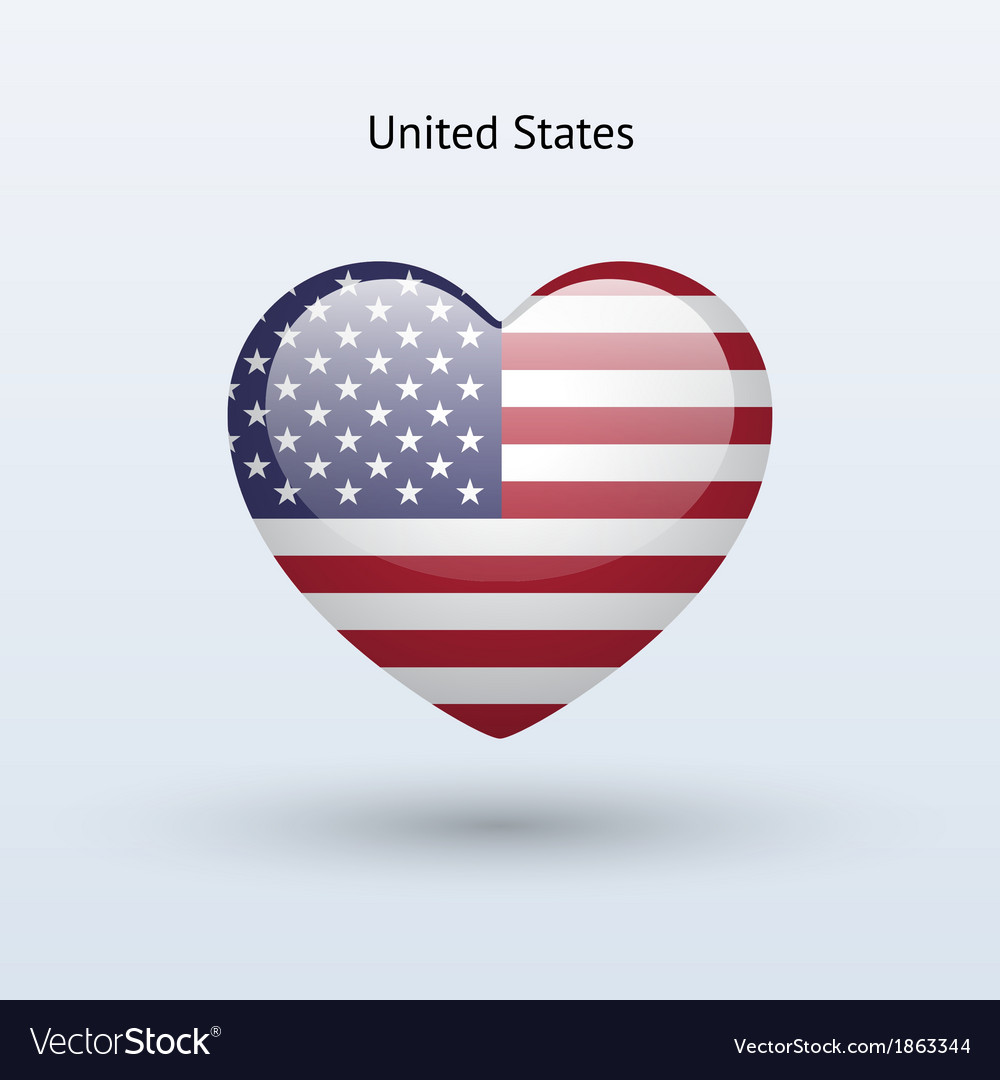 Love united states symbol heart flag icon vector | Price: 1 Credit (USD $1)