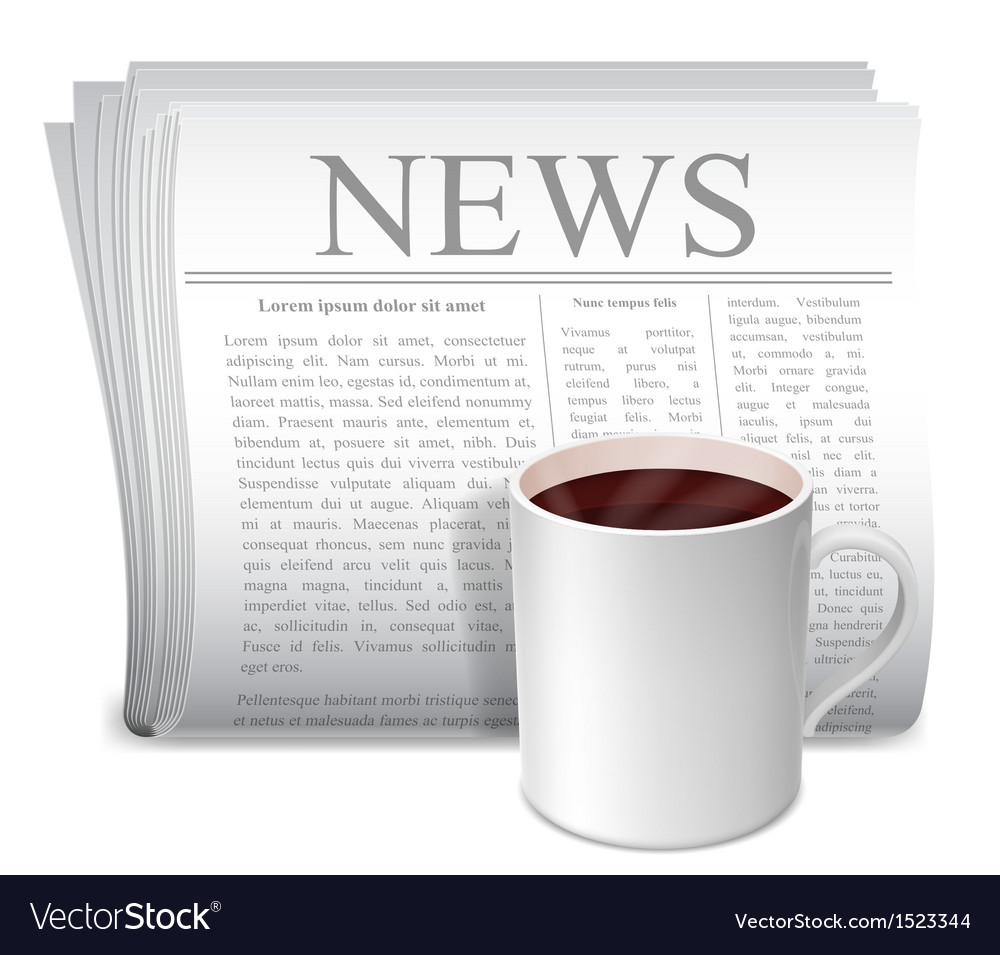 Newspaper and coffee cup vector | Price: 1 Credit (USD $1)
