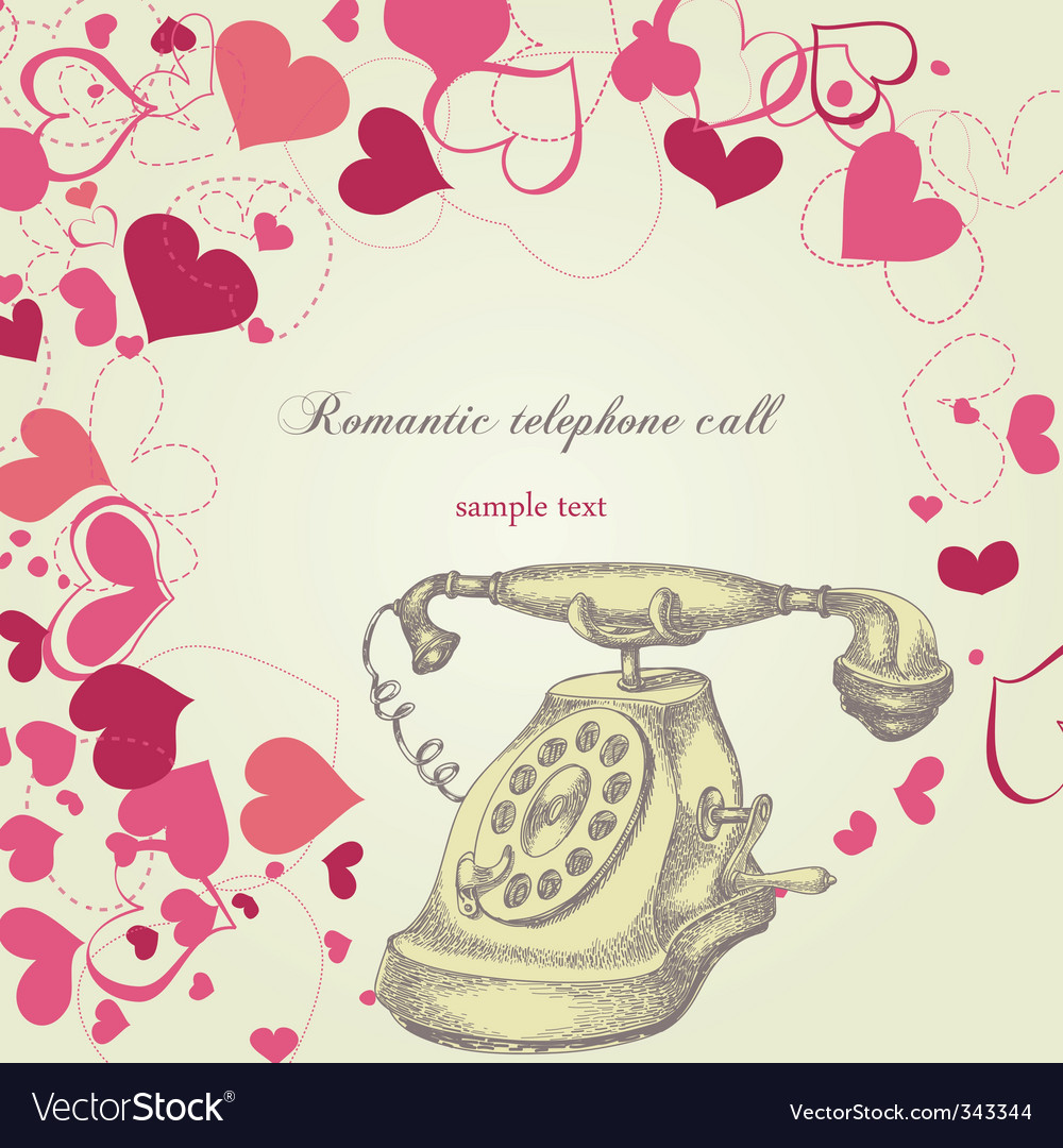 Romantic telephone call vector | Price: 1 Credit (USD $1)