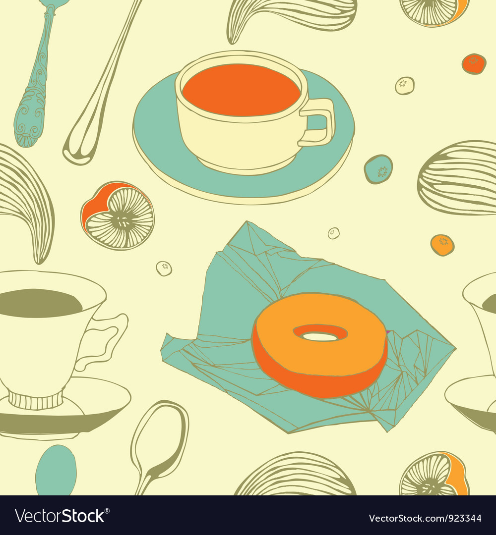 Vintage afternoon tea pattern vector | Price: 1 Credit (USD $1)